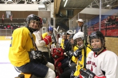 2013-2014-Paul-Nelson-Memorial-Hockey-Game.-Fourth-year-PHED-students-pre-game-smiles